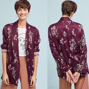 Anthropologie Floral Silky Blazer Size LargeP
